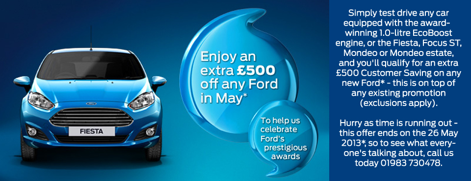 Enjoy an extra £500 of any Ford in May